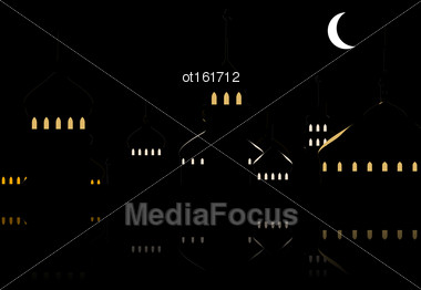 Illustration Silhouette Of Mosque Against Night Sky With Crescent Moon. Dark Background For Ramadan Kareem. Muslim Holy Month - Vector Stock Photo