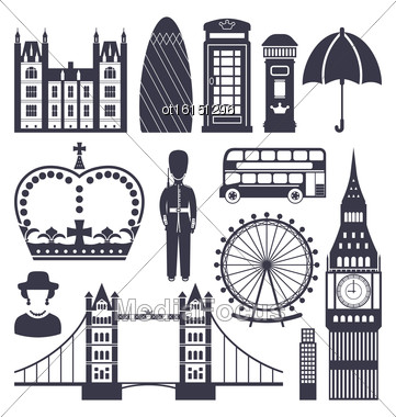 Illustration Silhouette Symbols Of Great Britain Kingdom, Big Ben, Tower Bridge, Queen, Queen's Guard, Crown, Wheel, Bus, Telephone Box, Post Box, Umbrella, Isolated On White Background - Vector Stock Photo