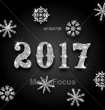 Illustration Silver Magic Background For Happy New Year 2017 With Snowflakes, Glittering Luxury Wallpaper - Vector Stock Photo