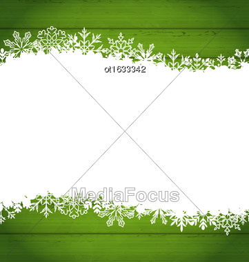 Illustration Snowflakes Border For Happy New Year, Space For Your Text - Vector Stock Photo