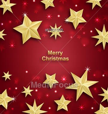Illustration Starry Background For Merry Christmas And Happy New Year 2017 - Vector Stock Photo