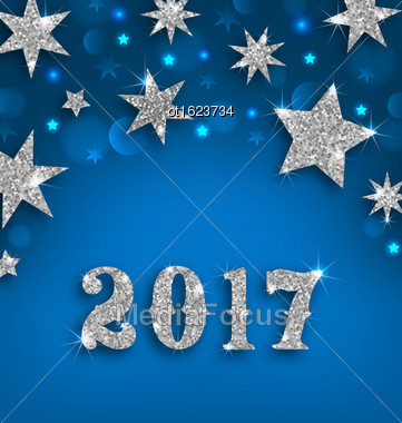 Illustration Starry Silver Background For Happy New Year 2017, Glittering Luxury Wallpaper - Vector Stock Photo