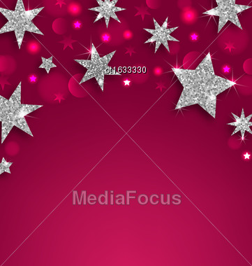 Illustration Starry Silver Banner For Happy Holidays, Glittering Luxury Wallpaper - Vector Stock Photo