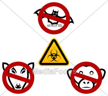 Illustration Stop Signs In Order To Avoid Disease Ebola Virus - Vector Stock Photo