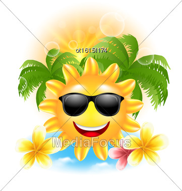 Illustration Summer Funny Background With Happy Smiling Sun, Palms, Flowers Frangipani - Vector Stock Photo