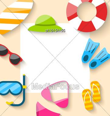 Illustration Summer Traveling Card With Beach Elements, Copy Space For Your Text - Vector Stock Photo