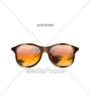 Illustration Sunglasses With Palms Reflection, Isolated On White Background - Vector Stock Photo