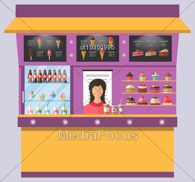 Illustration Sweet Shop With Cakes, Ice Creams, Muffins, Cupcakes, Coffee - Vector Stock Photo