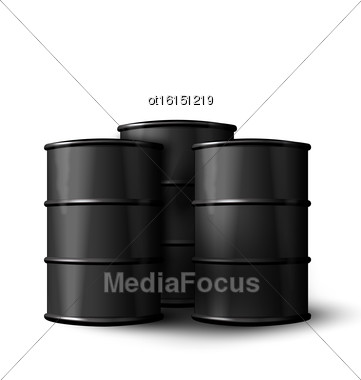Illustration Three Realistic Black Metal Of Oil Barrels Isolated On White Background - Vector Stock Photo