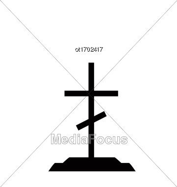 Illustration Tombstone On Dead Tomb Grave With Catholic Cross - Vector Stock Photo