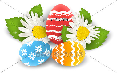 Illustration Traditional Colorful Ornate Eggs With Flowers Camomiles For Easter, Copy Space For Your Text - Vector Stock Photo
