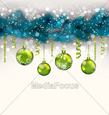 Illustration Traditional Decoration With Fir Branches And Glass Balls For Merry Christmas - Vector Stock Photo