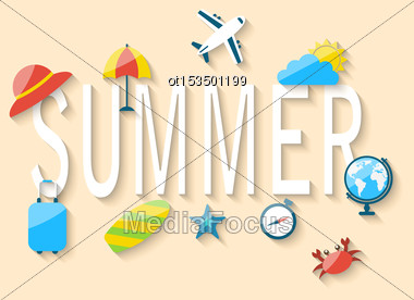 Illustration Travel Summer Background With Tourism Objects And Equipments, Colorful Flat Icons With Long Shadows - Vector Stock Photo