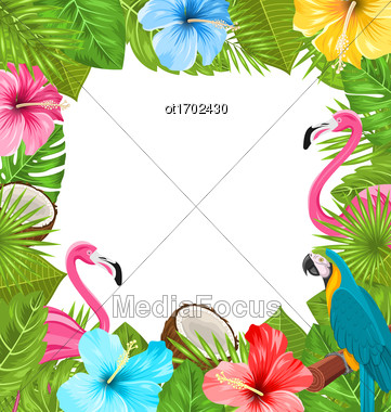 Illustration Tropical Frame Made In Beautiful Plants, Flowers, Exotic Parrot, Flamingos, Coconuts - Vector Stock Photo