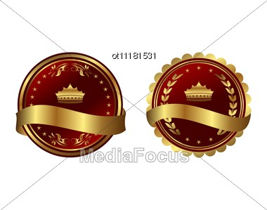 Two Red Gold-framed Labels Stock Photo