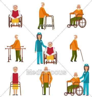 Illustration Various Degrees Of Injuries And Disabilities. Older Women And Men With A Stick, Stilts, In A Wheelchair. Colorful Icons Isolated On White Background - Vector Stock Photo
