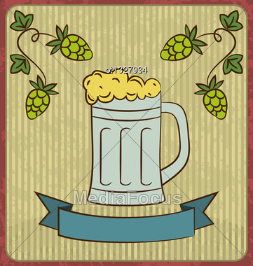 Illustration Vintage Card With Glass Mug Beer - Vector Stock Photo
