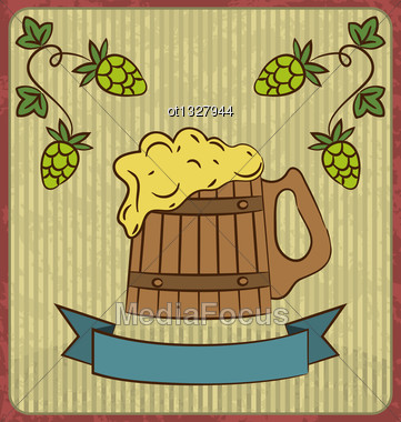 Illustration Vintage Card With Wooden Mug Beer - Vector Stock Photo