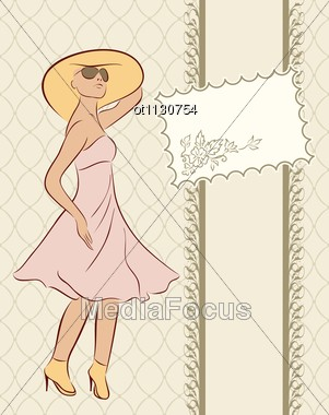 Vintage Girl With Card Sketch Style Stock Photo