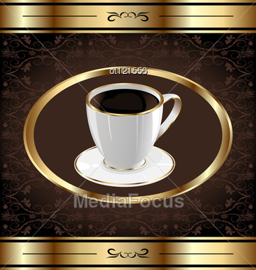 Vintage Label For Wrapping Coffee Coffe Cup Stock Photo