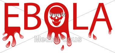 Illustration Warning Epidemic Ebola Virus, Bloody Font - Vector Stock Photo