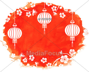 Illustration Watercolor Background With Blossom Sakura Flowers And Lanterns - Vector Stock Photo
