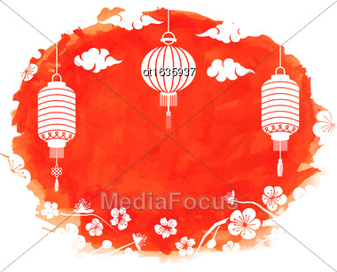 Illustration Watercolor Frame With Blossom Sakura Flowers And Lanterns, Spring Decoration - Vector Stock Photo