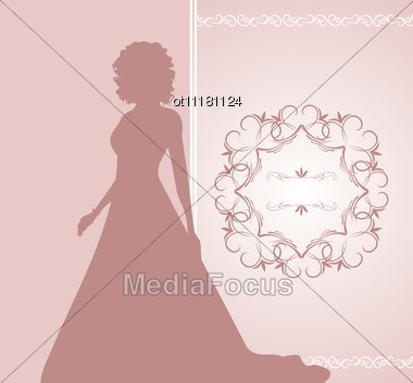 Illustration Wedding Invitation Or Card With Girl Bride Vector Stock Photo