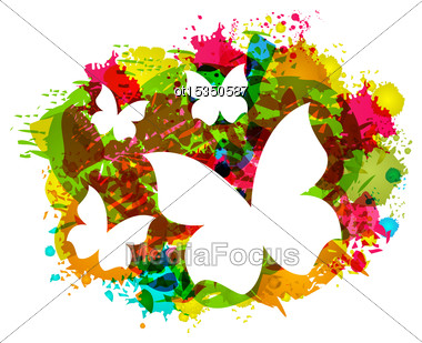 Illustration White Butterflies On Colorful Grunge Texture - Vector Stock Photo