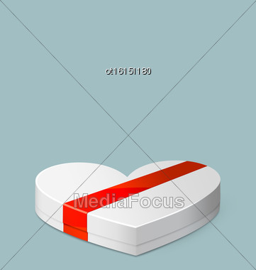Illustration White Gift Box In Heart Shaped With Red Ribbon For Valentines Day - Vector Stock Photo