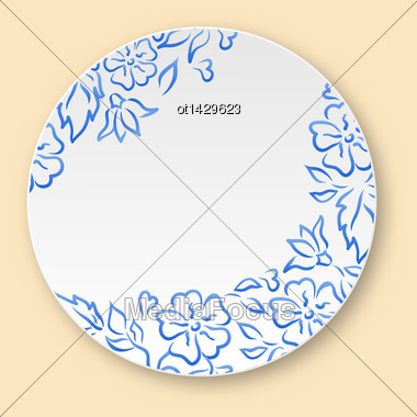 Illustration White Plate With Hand Drawn Floral Ornament, Empty Ceramic Plate - Vector Stock Photo