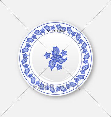 Illustration White Plate With Hand Drawn Floral Ornament Bezel - Vector Stock Photo