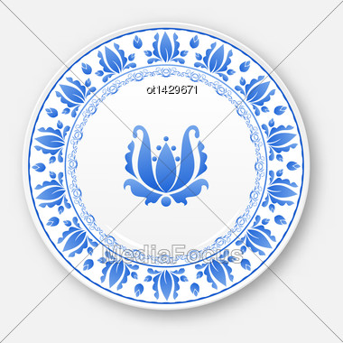 Illustration White Plate With Russian Ornament In Gzhel Style - Vector Stock Photo