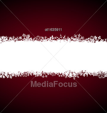 Illustration Winter Abstract Frame With Snow. Christmas Snowflake Surface - Vector Stock Photo