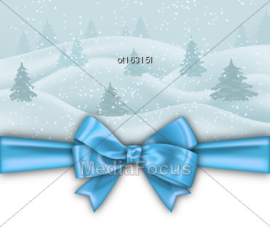 Illustration Winter Background With Blue Bow Ribbon, Nature Landscape With Fir Tree - Vector Stock Photo