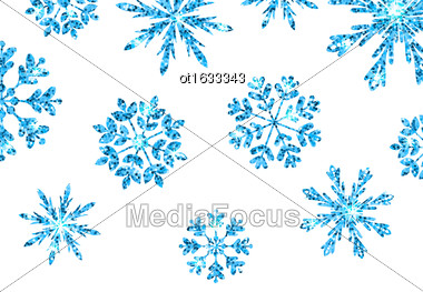 Illustration Winter Background With Blue Snowflakes For New Year, Glittering Elements, Holiday Luxury Background - Vector Stock Photo