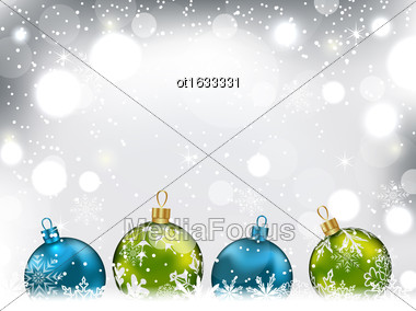 Illustration Winter Background With Colorful Glass Balls And Snowflakes - Vector Stock Photo