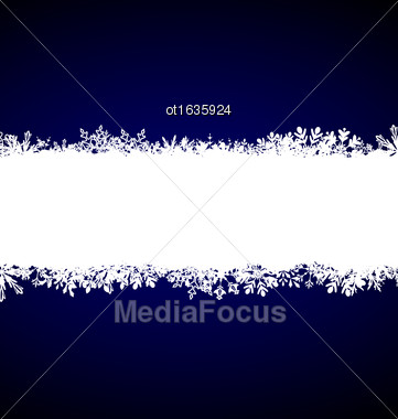 Illustration Winter Blue Background With Snowflakes - Vector Stock Photo