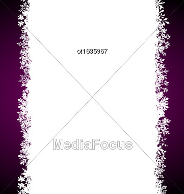 Illustration Winter Cute Snowing Frame With Snowflakes - Vector Stock Photo