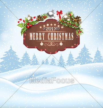 Illustration Winter Landscape With Wooden Sign And Decoration, Happy 2017 New Year - Vector Stock Photo