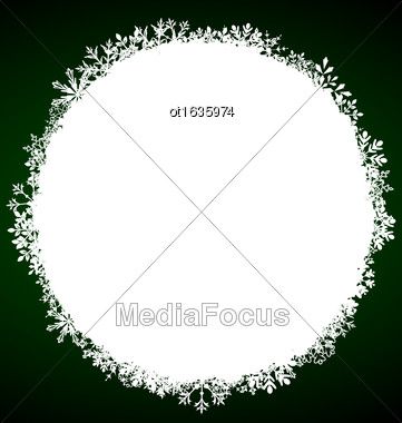 Illustration Winter Round Frame With Snowflakes - Vector Stock Photo