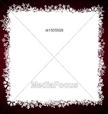 Illustration Winter Square Frame With Snowflakes - Vector Stock Photo