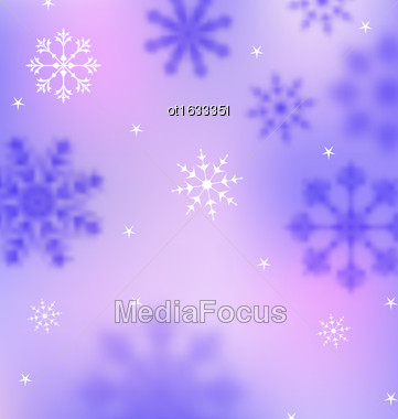 Illustration Winter Wallpaper With Snowflakes, Blurred Banner - Vector Stock Photo