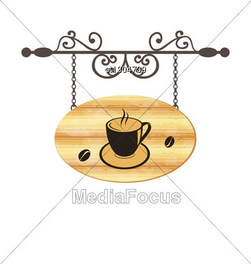 Wooden Forging Sign With Coffee Cup Stock Photo