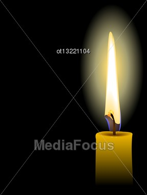 Illustration Of Yellow Candle Isolated On Black Background - Vector Stock Photo