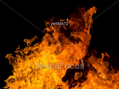 Image With Red Flame On Black Background Stock Photo
