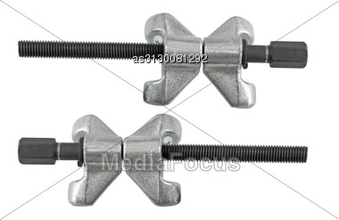 IMetal Tool For Removing Of Springs Car, Isolated On White Background. Stock Photo