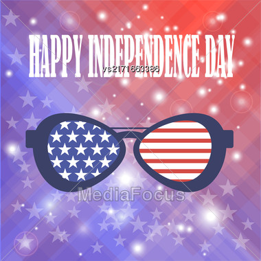 Independence Day Of America. American Sunglasses Background Stock Photo