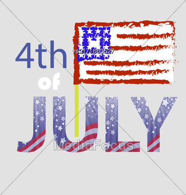 Independence Day Of USA. American Flag 4 July Poster. Independence Day Background Stock Photo