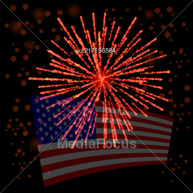 Independense Day Of America. American Flag Starry Background Stock Photo